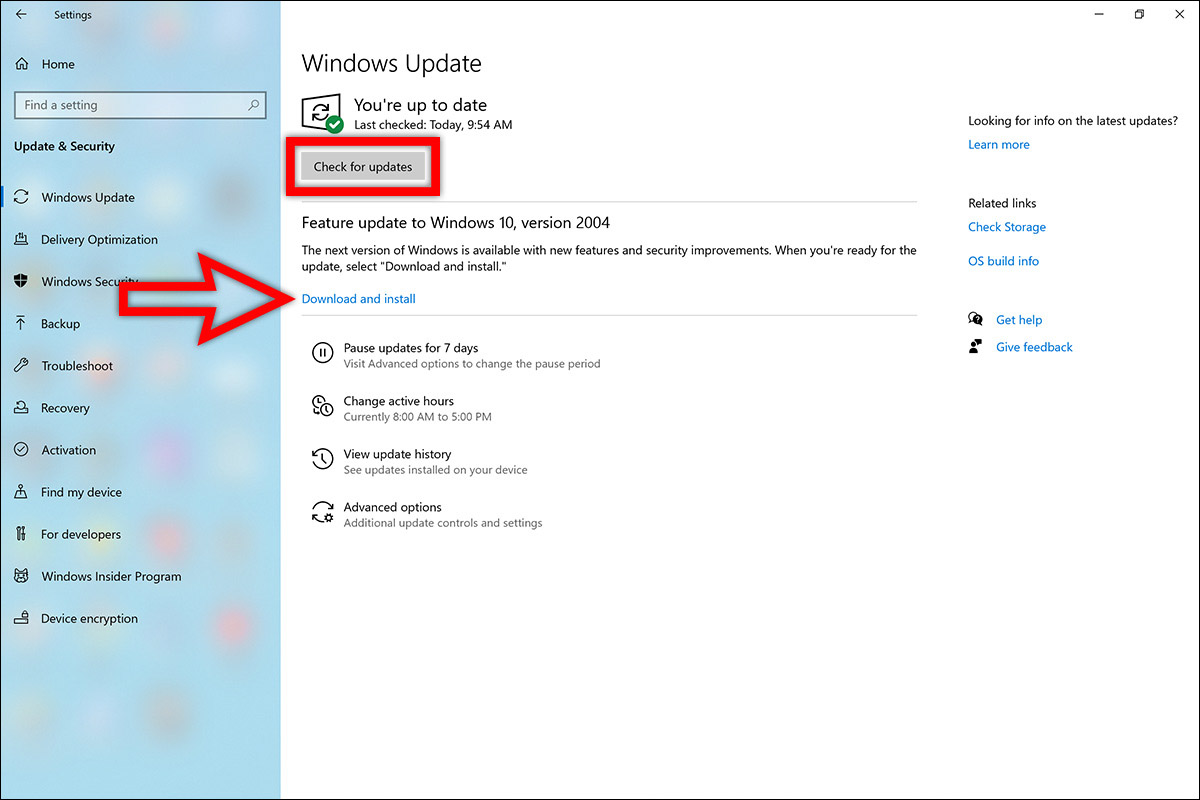 سرفیس نحوه روش طریقه دریافت دانلود اخرین جدیدترین آپدیت ویندوز 10 می 2020 ورژن جدید 2004 برنامه Settings ستینگ Update b